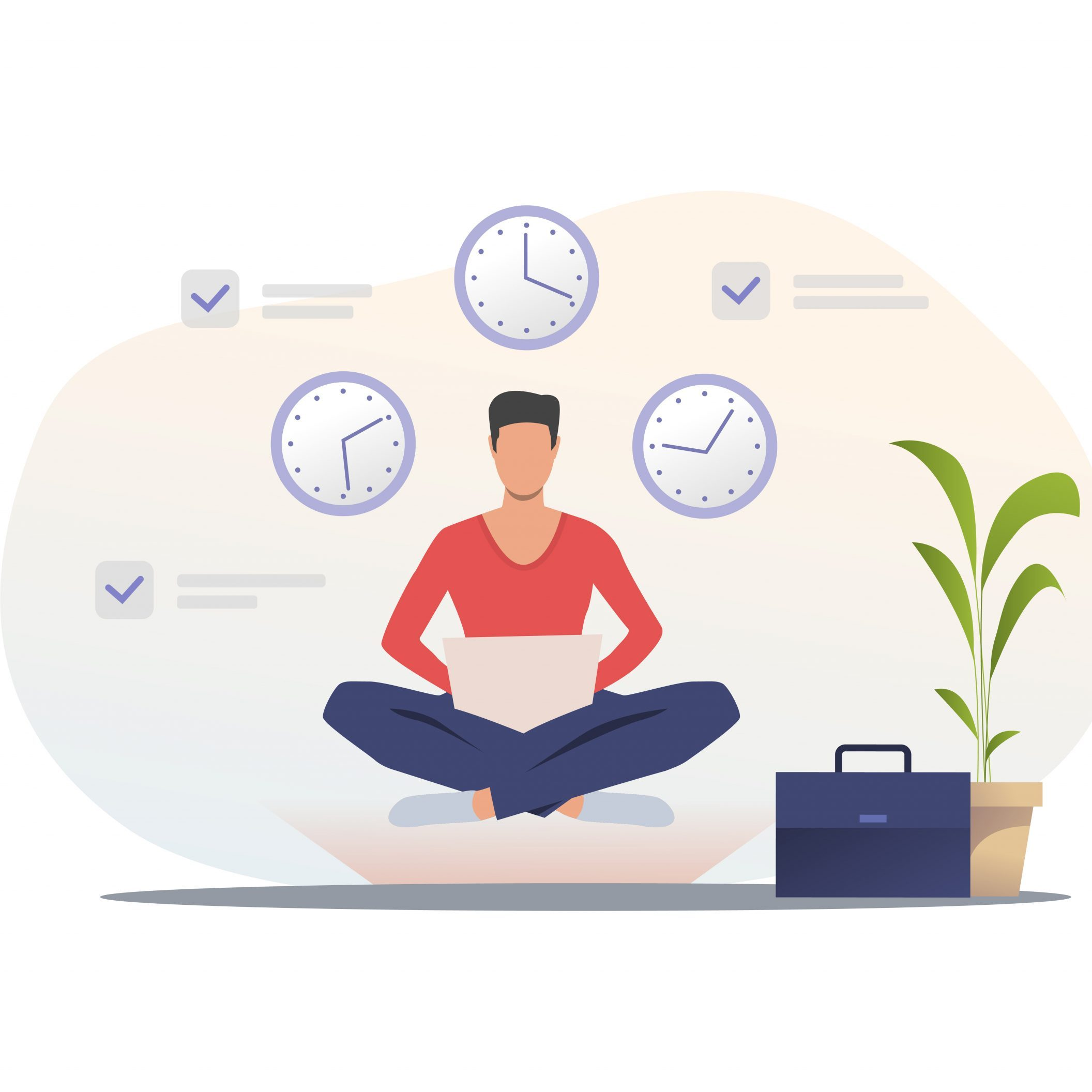 Man in casual using laptop. Freelancer sitting in lotus position, clock, briefcase. Time management concept. Vector illustration for presentation slide template or website design