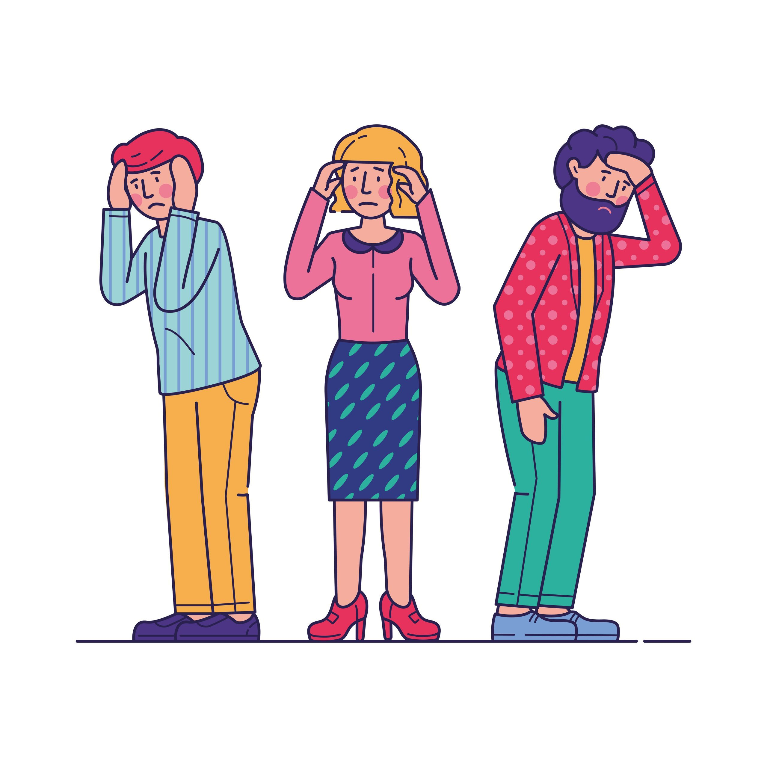 Stressed men and woman feeling headache. Tired sad people holding head, having health problems. Vector illustration for depression, stress, migraine, trouble concept